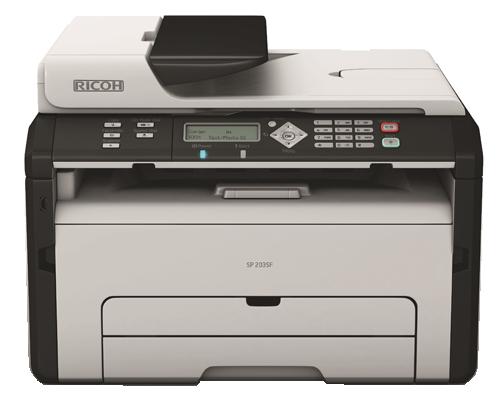 Máy in Ricoh SP-203SFN, In, Scan, Copy, Fax, Network, Laser trắng đen